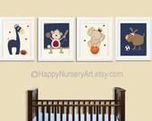 Art for boys nursery,Sports nursery wall art, kids art, soccer, football, basketball,baseball, navy blue, yellow, red, baby boy wall art