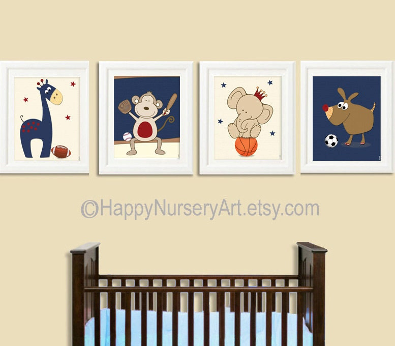 Baby boy nursery boy nursery art decor sports nursery wall art for Boys wall art
