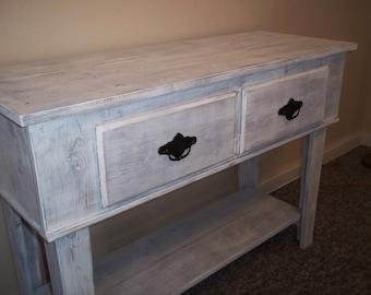 Entry Table with Drawers  Shabby Rustic,Furniture, Foyer Table, Side Table, Entertainment, Sofa Table, Display Table,Furniture Storage Table