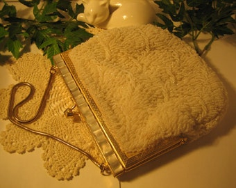 FANCY Evening Formal Bag, White - beaded both sides- made in Hong Kong- with gold tone chain handle