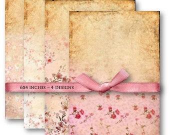 Digital Images - Digital Collage Sheet Download - Pink Vintage Floral Background -  498  - Digital Paper - Instant Download Printables