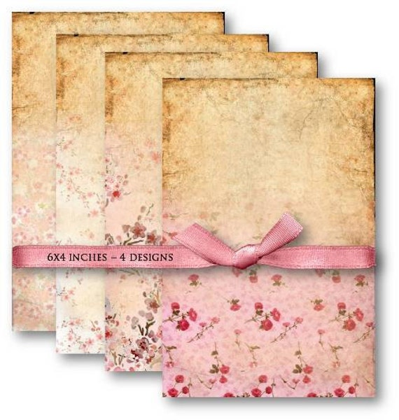 Digital Collage Sheet Download - Pink Vintage Floral Background -  498  - Digital Paper - Instant Download Printables