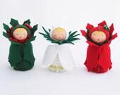 Christmas Felt Ornaments - Miniature Dolls - Green Red White Flower Decor