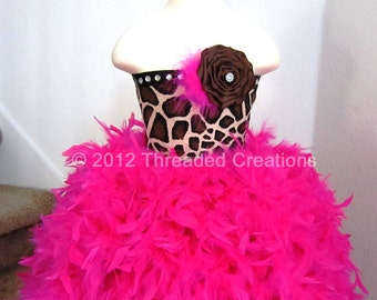 Feather Dress -  Feather Tutu Dress - Giraffe Tutu Dress - Giraffe Dress - Giraffe Costume
