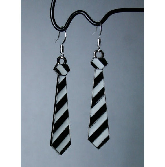 50 Shades of Grey - Necktie Earrings on Sterling Silver Hooks