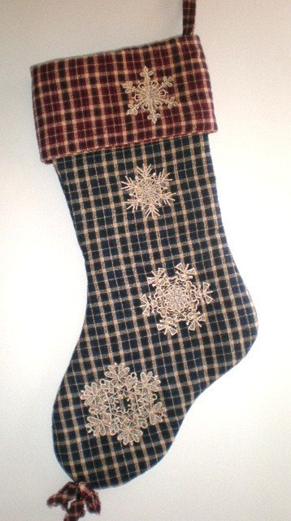 Country Christmas Stocking, Embroidered Lace  Snowflakes, Homespun Fabric, ONLY 2 LEFT, REDUCED