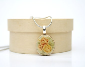Vintage floral Pendant necklace mothers day from husband wood pendant eco friendly jewelry wood jewelry