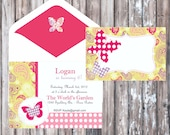 FLOWERS AND BUTTERFLIES Birthday Party or Baby Shower Invitation - Polka Dots Invitation - Girls Party