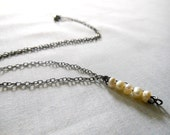 Simple Freshwater Pearl Necklace  on a gunmetal chain