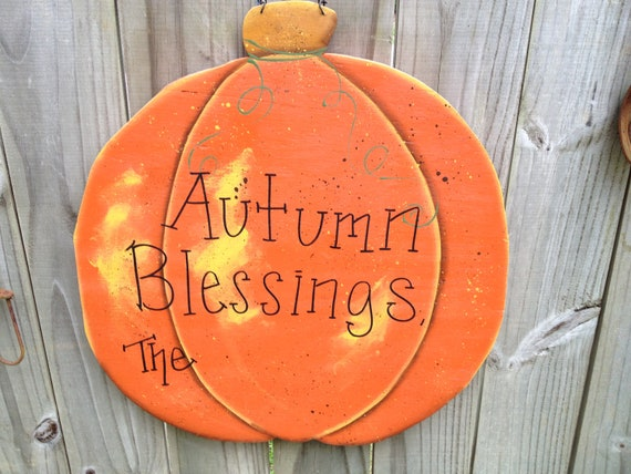 Large Personalized Autumn Blessings Pumpkin Sign and Decor