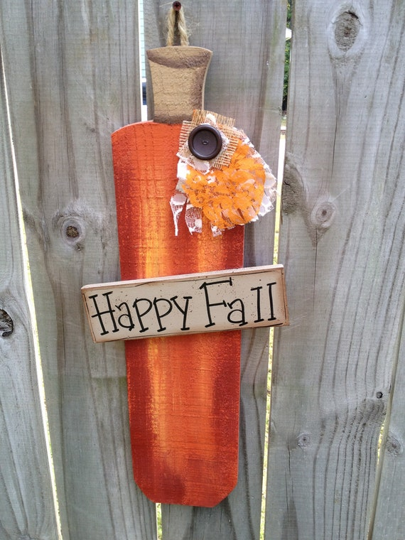 Whimsical Happy Fall Picket Fence Pumpkin with Embellishments