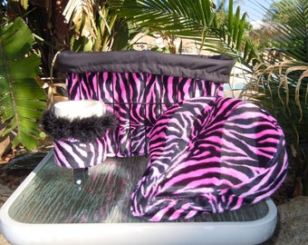 "Custom Cruiser Covers - includes a Reversible ""Bright Pink & Black Zebra"" print Bicycle Basket Liner, Seat Cover and Matching Cup Holder"