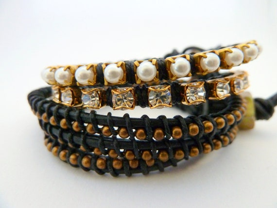 Hurricane Sandy Relief 100% - Madcap Charity / Set of 3 bracelets in  black / rhinestone pearl ball chain / brass / friendship / BFF