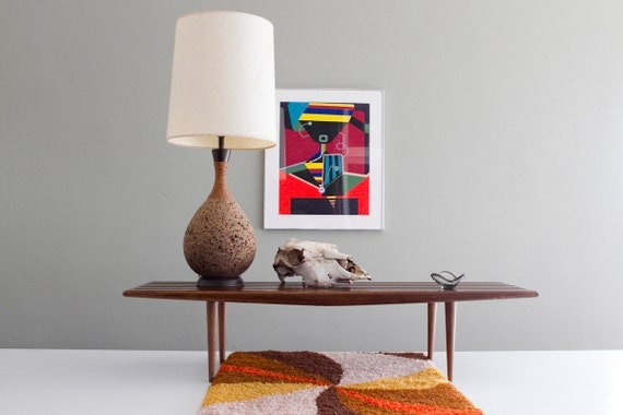 Vintage Mid-Century Slat Bench / Coffee Table Danish Modern Design