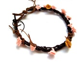Polymer Clay Flower Rose Choker Necklace. Flower Jewelry. Pale Pink  And Gold Roses. Brown Leather Necklace