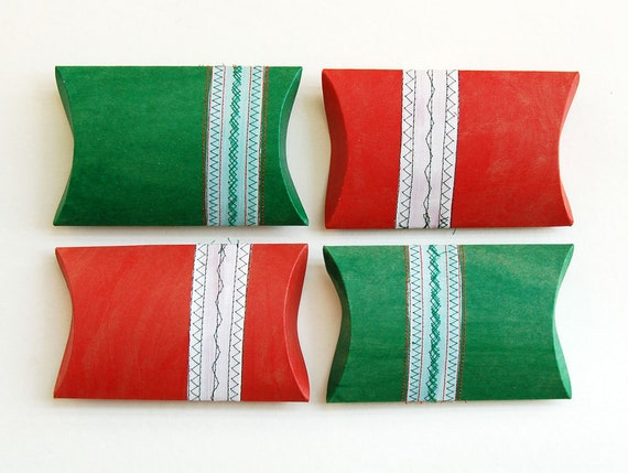 christmas in july, etsy cij, eco giftwrap pillow box red green white christmas party decor, stocking stuffers- set of 4