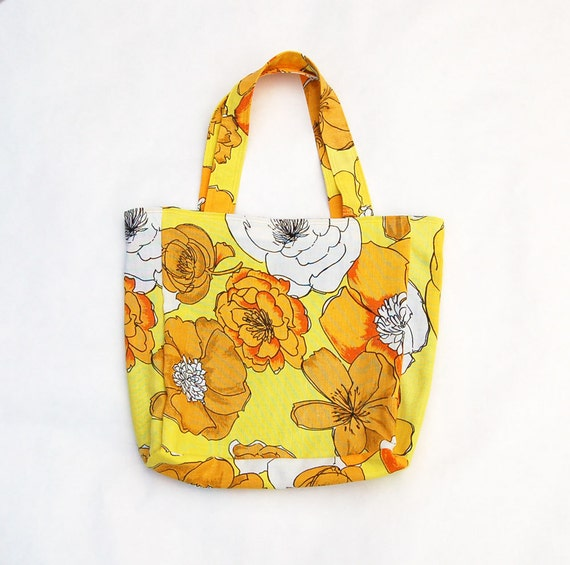 yellow floral tote bag made with vintage, thrifted fabric by greenbug, greenbugmarketplace, ecofriendly tote, upcycled bag, best friend gift