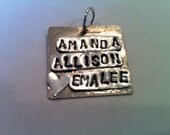 Custom stamp order. Name, words, quotes, sayings, letters stamped into metal to make a charm pendant for your necklace, bracelet or earrings