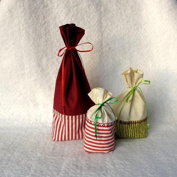 Reusable Gift Bag, Fabric Gift Bag, Christmas