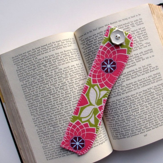 Pink Floral Bookmark, Fabric Bookmark,