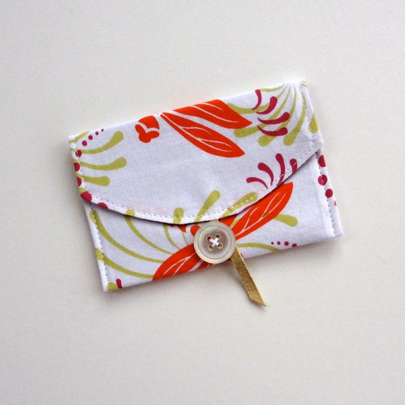 Business Card Case, Dragonfly, Fabric Wallet
