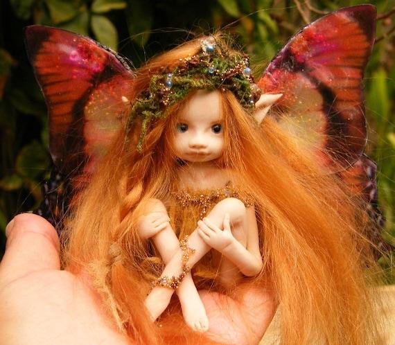 Sweet  redhaired full sculpt  butterfly fairy fairie ooak