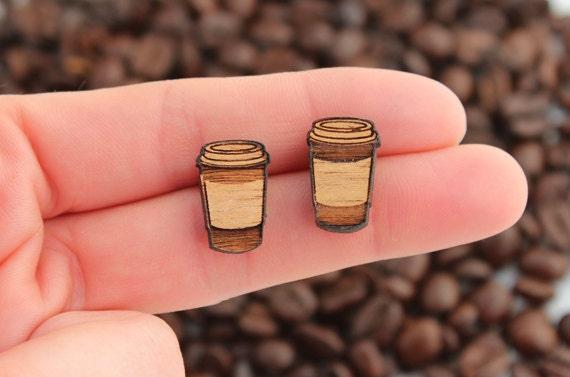 Wood laser cut earrings studs takeaway coffee latte cup