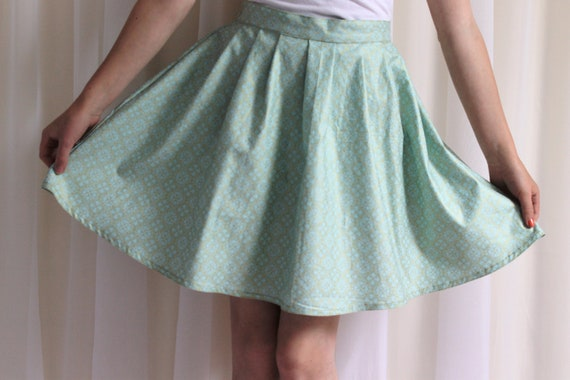 Paige - Mint Green and Gold Skirt, 100% Cotton