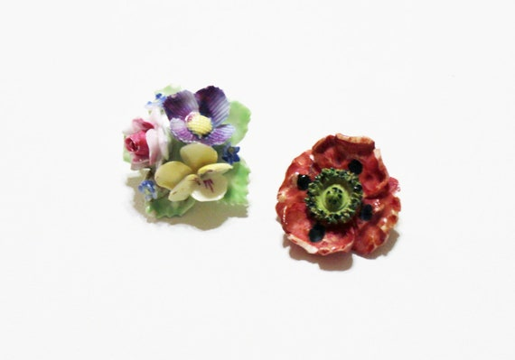 vintage pin 1930s porcelain celluloid rose flower floral hand painted lot destash