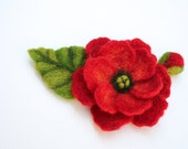 Felted Brooch Flower Red Flower Pin Handmade From Israel CUSTOM ORDER ONLY