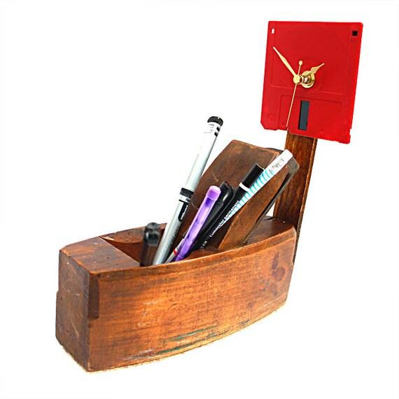 Desk Tidy-Plane Sailing-Desk Clock-Geeky-Vintage-Upcycled - Useful  Assemblage Art
