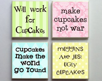 Cupcake Words - Ceramic Tile 4-pc. Refrigerator Memo Magnet Set Magnets - Set No. 1