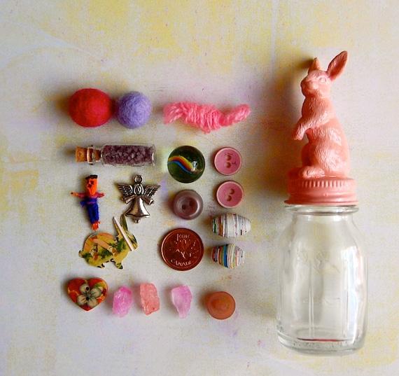 RESERVED for JENNIFER Pale Rose Pink Tiny Bunny Instant Collection Animal Jar