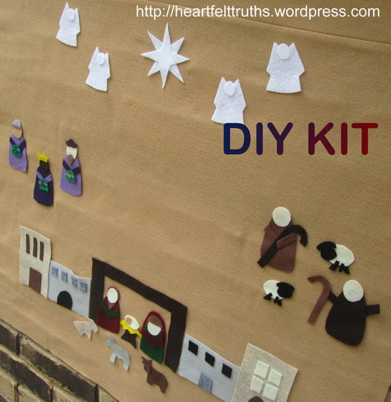 Advent Calendar Diy Kit : Diy kit for felt nativity set advent calendar count down to