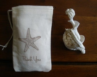 """Wedding Favor Bags - 25 Muslin 3x5"""" Hand Stamped Starfish Thank You"""