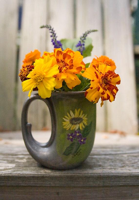Pewter Horn Mug, Sunflower Violets, Hand Painted Flower Vase,   Art Deco Style, Utensil Holder, Caddy, Music Lover, Floral Centerpiece