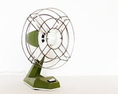 Vintage olive moss green table fan white by AEPI