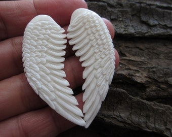 Amazing  Pair of Carved Angel Wing , buffalo bone carving Not drilled,  Double sided, Jewelry making Supplies , S3247