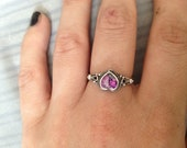 Reserved for Catherine -Silver heart amethyst ring