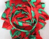 1 Yard Shabby Fray Flowers - Christmas 2 -  6CM