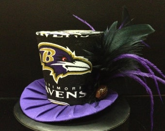 Baltimore Ravens Mini Top Hat. Great for Birthday Parties, Tea Parties, Football Games, Photo Prop and Much More...