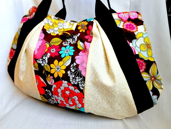 Floral Fabric Bag Purse Medium Handbag Diaper Bag Designer Floral Cotton Fabric Pink Blue Yellow Green In Stock