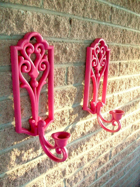 Pink Candle Wall Sconce Pair Sconces Wall Hanging Set of 2
