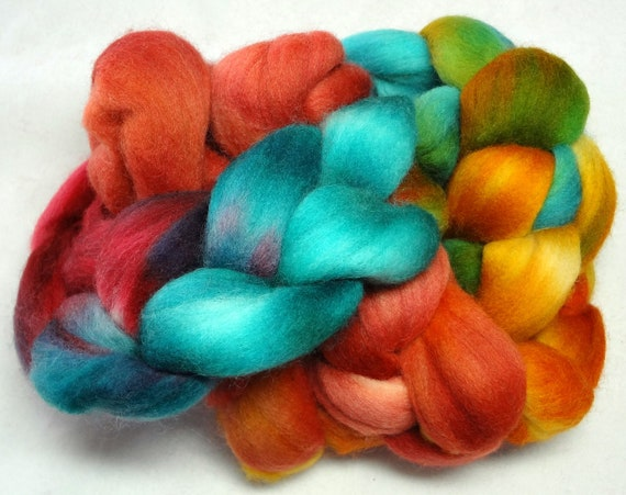 Hand Dyed Spinning Fiber Polwarth Combed Top (Roving) 4 oz. MH1412-B