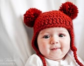 Baby Bear Earflap Hat, Teddy Bear Beanie