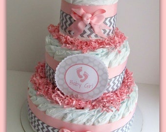 pink and grey baby shower , pink and grey nursery decoration , diaper cake girl , diaper cake for girls , pink and grey elephant baby shower
