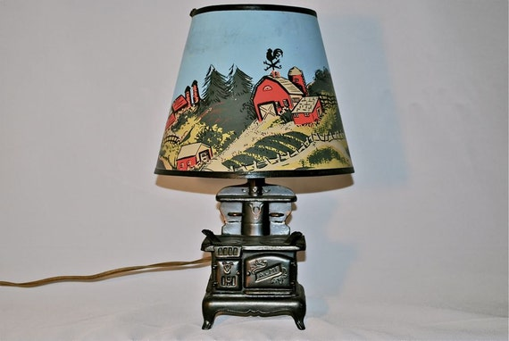Vintage Acme Stove Lamp with Movable Parts and Farm Shade, Winsome, 1950s