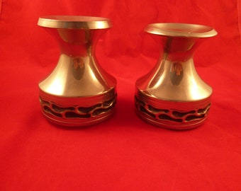 Vintage pair of norwegian  Norway pewter  tinn candel holders