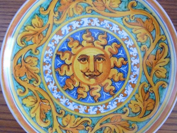 Two italian ceramic majorca hand painted plate Tre  Erre Sicilia Palermo art pottery