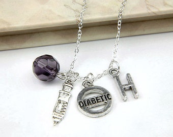 Personalized Diabetic Necklace with Your Initial and Birthstone - SP433